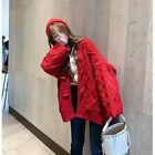Lady Chunky Knitted Sweater Coat Cardigans Jacket Loose Preppy Winter Retro Chic