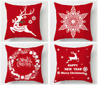 "18"" Christmas Xmas Throw Pillow Case Red Cushion Covers Home Sofa Decor Gifts"