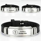 Diabetes Diabetic Type 1 2 Medical Alert Bracelet Stainless Steel Adjustable UK