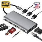 3/5/8/10 in1 Multiport Type C To USB-C 4K HDMI Adapter USB 3.0 Cable Hub USA