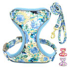 Floral No Pull Dog Harness and Leash set Reflective Mesh Puppy Walking Harness