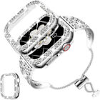 Crystal Diamonds Bangle Band With Bling Cover For Apple Watch Series 6 5 4 3 SE