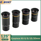 1.25' Ultra Wide Angle 66° 6/9/15/20mm Eyepiece Kit Lenses for Astro Telescopes