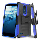 For LG K30/Phoenix Plus/Xpression Plus Rugged Case Holster Cover+ Tempered Glass