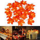 2M 10LED Artificial Autumn Maple Leaves Garland Led Fairy Lights Party Halloween