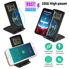 10W LED Wireless Qi Fast Charger Charging Station Electric Alarm Clock Calendar