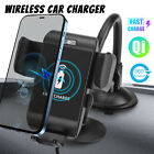 2 in 1 Qi Wireless Car Charger Fast Charging Mount Holder For Cell Phone iPhone