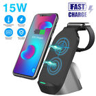 3 in 1 Qi Wireless Charger Fast Charging Station For Apple Watch Air Pods iPhone