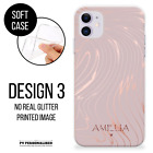 PERSONALISED PHONE CASE NAME ROSE GOLD SILICONE COVER FOR IPHONE 12 11 XR 7 8