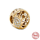 925 Sterling Silver Charm Beads Gold Authentic Pandora ALE Valentine Woman Gift