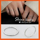 Genuine 925 Sterling Silver Solid Stardust Ladies Girls Kids Thin Band Midi Ring