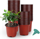 GROWNEER 120 Packs 4 Inches Plastic Plant Nursery Pots with 15 Pcs Plant Labels,