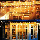 120 LED Fairy String Light Curtain Icicle Lights Waterproof Party Wall Decor US