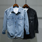 Men Ripped Denim Shirt Casual Distressed Retro Long Sleeve Pocket Top Jacket Fit