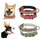 Adjustable Leather Dog Training Collar Metal Buckle Soft Padded Pet Puppy S M L