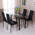 Modern 4Pcs Chairs Dining Table Set Glass Metal Kitchen Room Breakfast Furniture