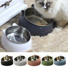 Cute Cat Raised Bowl No-slip Stainless Steel Elevated Stand Tilted Feeder Bowls.
