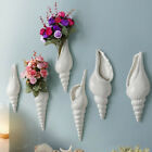 Modern White Ceramic Sea Shell Conch Flower Vase Wall Hanging Home Decor