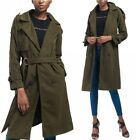 Autumn Women Trench Woolen Coat Parka Long Outwear Lapel Belt Windproof Jacket D