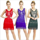 D1836 Women's Beaded Sequins Embellished Mesh Evening Party Dress 6 Colors