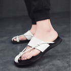 Men Soft Leather Outdoor Flip Flops Non-slide Slippers Summer Beach Casual Shoes