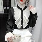 Lady Slim Blouse Shirts Ruffle Patchwork Button Retro Long Sleeve Pricess Gothic