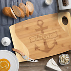 Wooden bamboo Anchor cutting board Personalized Nautical decor Boat name