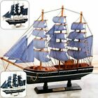 Handmade Wooden Sailing Ship Carved Home Table Desk Decoration Accessories Model