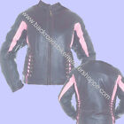 LADIES PINK BLACK LEATHER MOTORCYCLE BIKER RACER JACKET