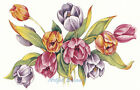 Ceramic Decals Tulips Floral Spray Pink/Purple/Yellow image