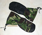 BRITISH ARMY SURPLUS RIPSTOP COTTON WOODLAND DPM LEATHER PALMED GORE-TEX MITTS