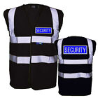 BLACK SECURITY BADGED High Viz Vest Hi Viz Waistcoat