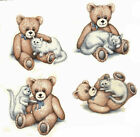 Ceramic Decals Teddy Bear and White Kitten  4 Designs image