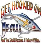 GET HOOKED ON JESUS, Religion, New White T-shirt, S-XL