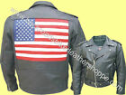 Mens Leather American Patriotic USA Flag Motorcycle Biker Jacket Coat