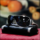 NEW MENS WRAP AROUND SHIELD SUNGLASSES BLACK BROWN LENS