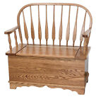 Amish Country Storage Bench Seat Solid Wood Cottage Entryway Mud Room Blankets
