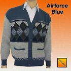 Mens Classic Bellisimo Argyle Grandad Button-Front Cardi Cardigan Airforce Blue