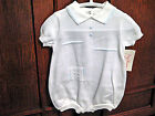 Day Dream Heirlooms Boys White 100% Cotton Summer Romper with Blue Trim 3m 6m