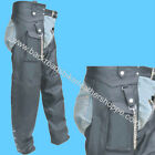 MENS WOMENS LEATHER MOTORCYCLE BIKER CHAPS with CARGO POCKET SIZES XS-5X