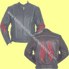 Mens Naked Cowhide Leather Biker Sport Motorcycle Cruiser Jacket Red Flames