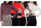 Womens Polo Top Turtle Neck Fitted Long Sleeved Blouse Ladies New UK S/M M/L