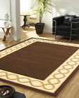 MEDIUM TO EXTRA LARGE CLASSIC GREEK KEY DESIGN CHOCOLATE BROWN BEIGE RUG