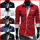 THELEES Mens Casual Long Sleeve Stretchy Slim Fit Shirts Collection1