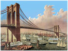 Decor Poster. Fine Graphic Art. River Suspension Bridge. Home Wall Design. 1136