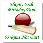 Personalised Cricket Runs Not Out 21st | 30th | 65th Birthday Gift Coaster