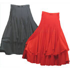 Women's Salsa Ballroom Tango Flamenco Black Red Dance Skirt Small Medium Large