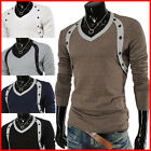 (VT06) THELEES Mens Casual Long Sleeve Button Point V-neck Tshirts 5 COLOR