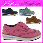 NEW LADIES FLAT BROGUE LACE UP CREEPER RETRO PLATFORM STYLISH SHOES SIZES UK 3-8