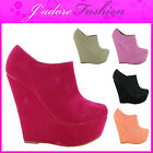 NEW LADIES SEXY HIGH HEEL WEDGE PLATFORM PARTY STYLISH ANKLE BOOTS SIZES UK 3-8